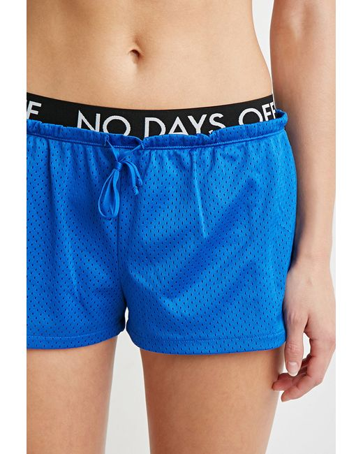 Forever 21 | Blue No Days Off Mesh Shorts | Lyst