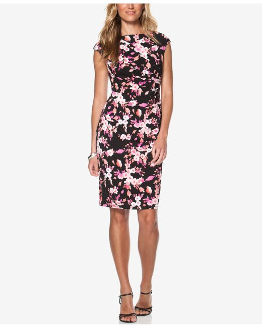 American Living Floral Print Jersey Dress In Floral Black
