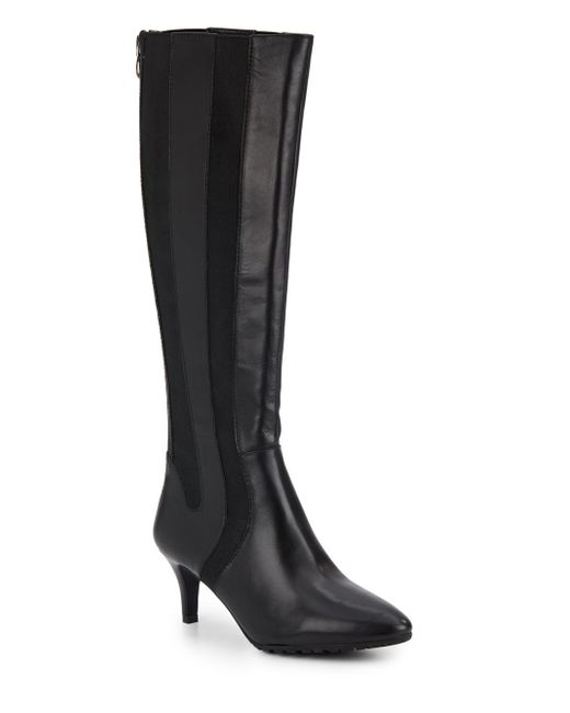 tahari fiore leather textile knee boots in black lyst