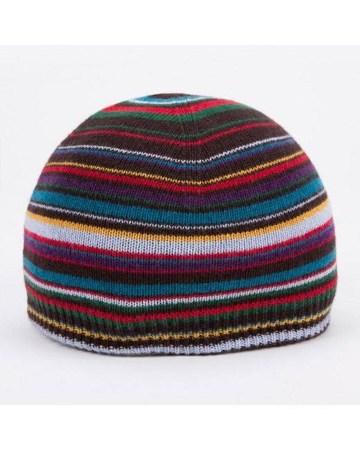 Paul Smith   Black Striped Knitted Beanie for Men   Lyst