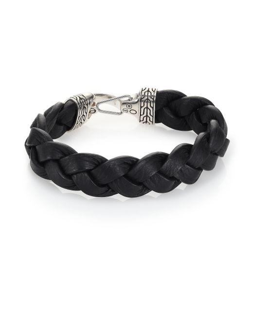 John Hardy | Black Classic Chain Sterling Silver & Leather Braided Hook Bracelet for Men | Lyst