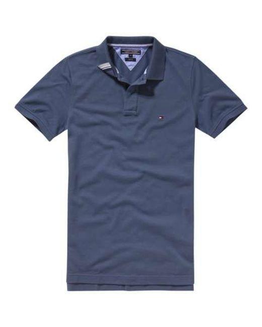 tommy hilfiger blue slim fit short sleeve polo shirt for men lyst. Black Bedroom Furniture Sets. Home Design Ideas