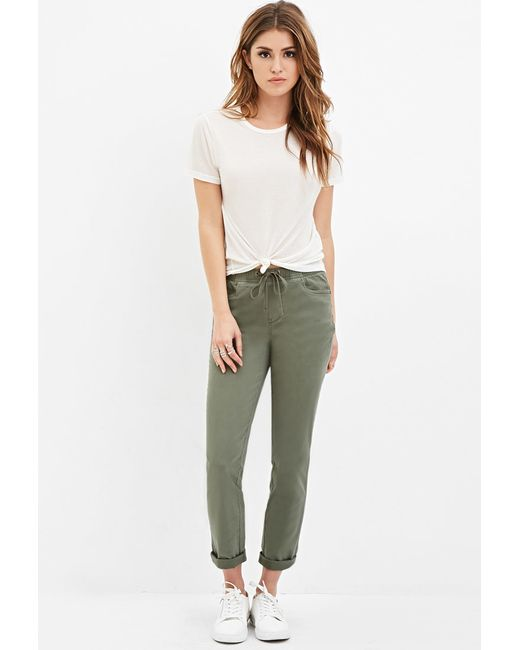 Forever 21 | Green Cuffed Drawstring Pants | Lyst