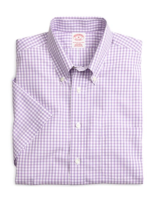 Brooks Brothers | Purple Non-iron Madison Fit Gingham Short-sleeve Sport Shirt for Men | Lyst