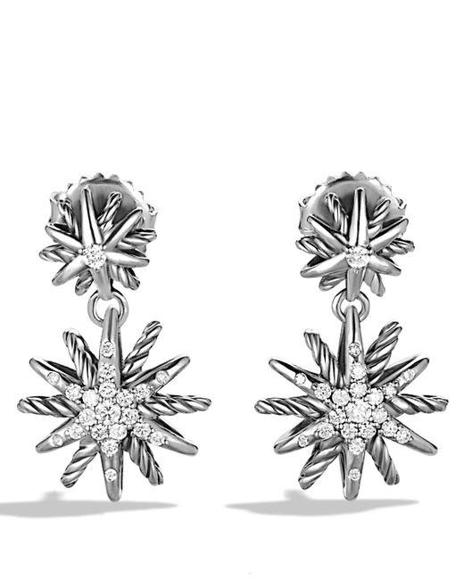 David Yurman | Metallic Starburst Double-drop Earrings With Diamonds | Lyst