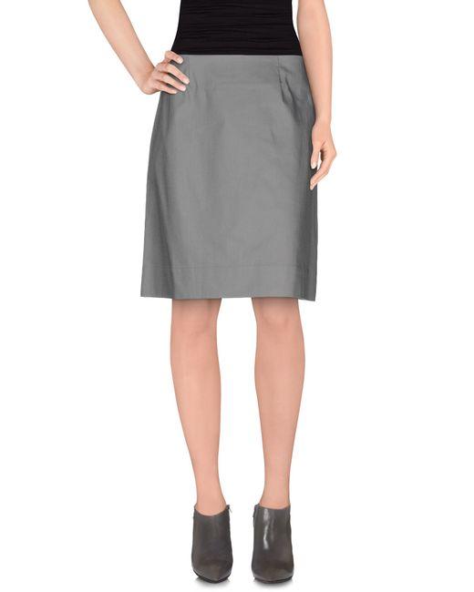 metradamo knee length skirt in gray grey save 54 lyst