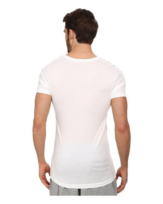 2xist pima slim fit deep v neck t shirt in white for men