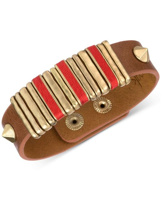 The Sak | Brown Leather Slider Accent And Stud Snap Bracelet | Lyst