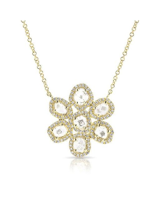 Anne Sisteron | Metallic 14kt Yellow Gold Diamond Slice Mae Small Flower Necklace | Lyst