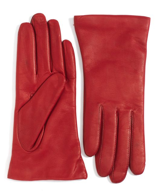 "Lord & Taylor | Red Cashmere-lined 9"" Leather Gloves 
