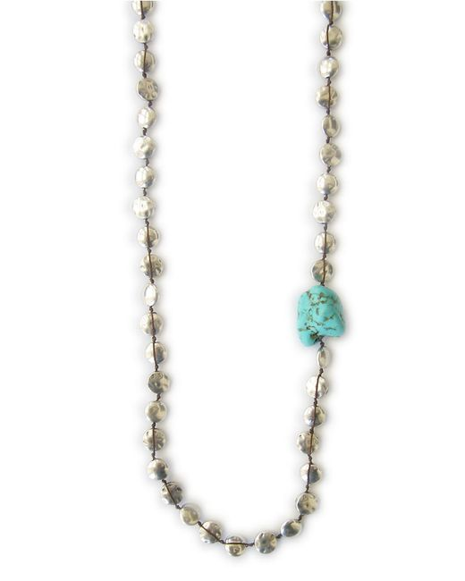 Lucky Brand | Blue Silvertone Hammered Coin Strand Necklace | Lyst