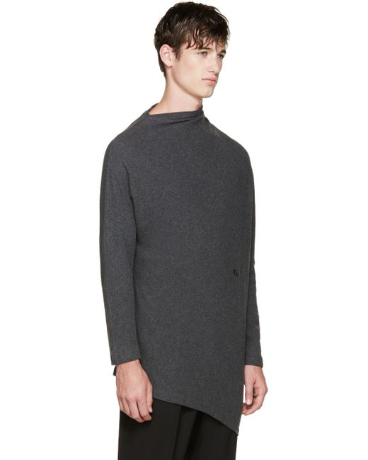 Thamanyah | Gray Grey Draped Brushed Cotton T-shirt for Men | Lyst