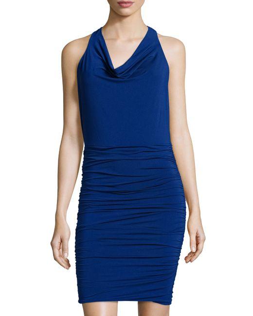 BCBGMAXAZRIA | Blue Jaide Cowl-neck Halter Dress | Lyst