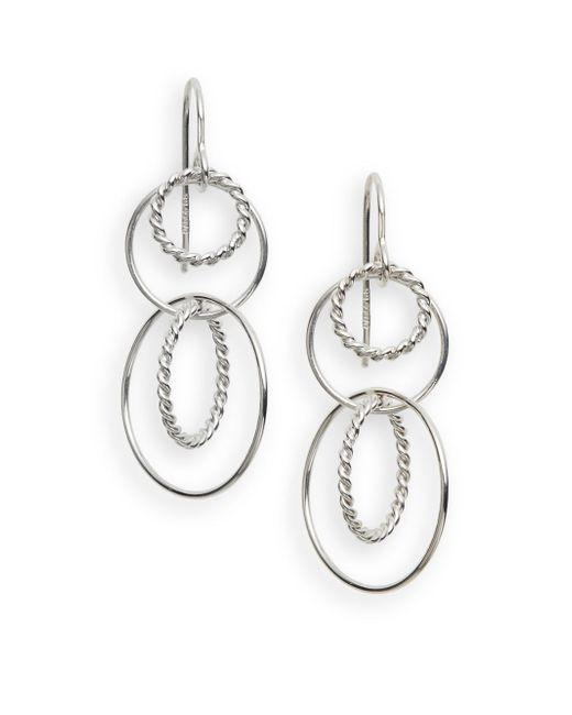 Saks Fifth Avenue   Metallic Sterling Silver Twist Drop Earrings   Lyst