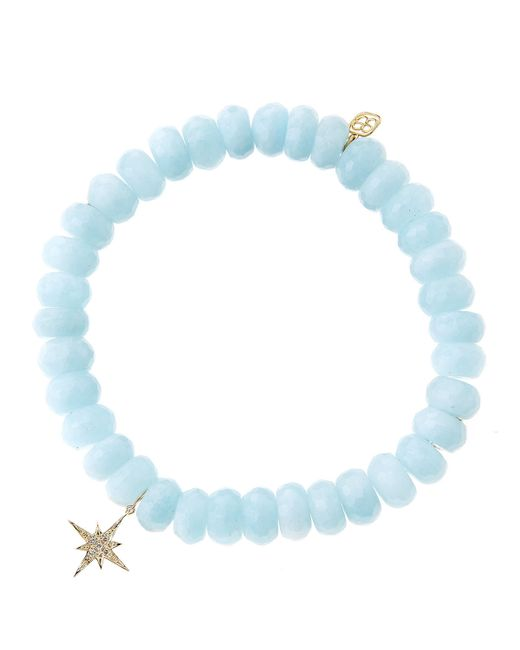 Sydney Evan   Blue Aquamarine Rondelle Bracelet With Diamond Starburst Charm (Made To Order)   Lyst