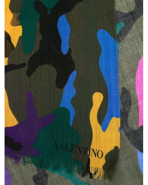 Valentino | Green Camouflage Scarf for Men | Lyst