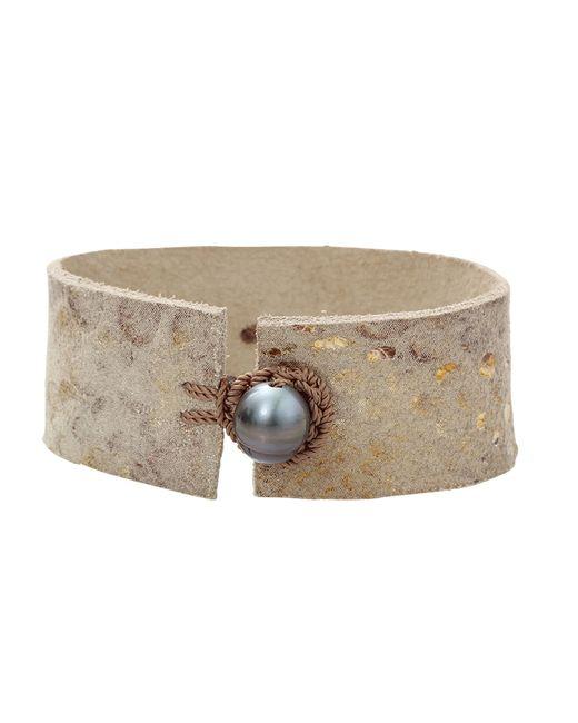 Jordan Alexander | Metallic Pearl Slice Leather Bracelet | Lyst