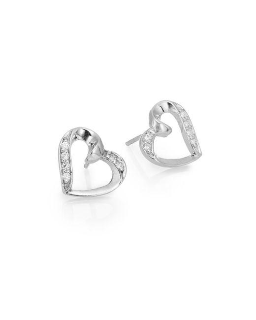 Ak Anne Klein | Metallic Sterling Silver Pavé Heart Stud Earrings | Lyst