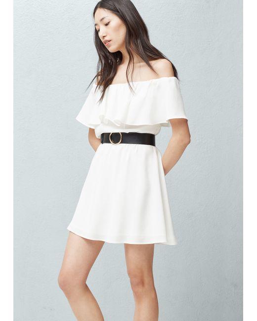 mango frilled belt dress in white white save 50