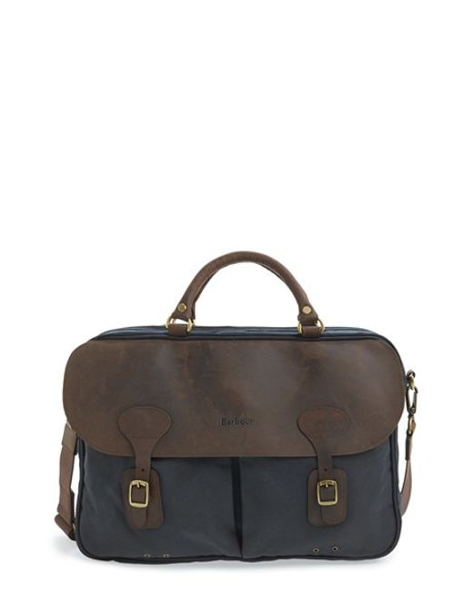 Barbour | Brown Waxed Canvas Briefcase for Men | Lyst