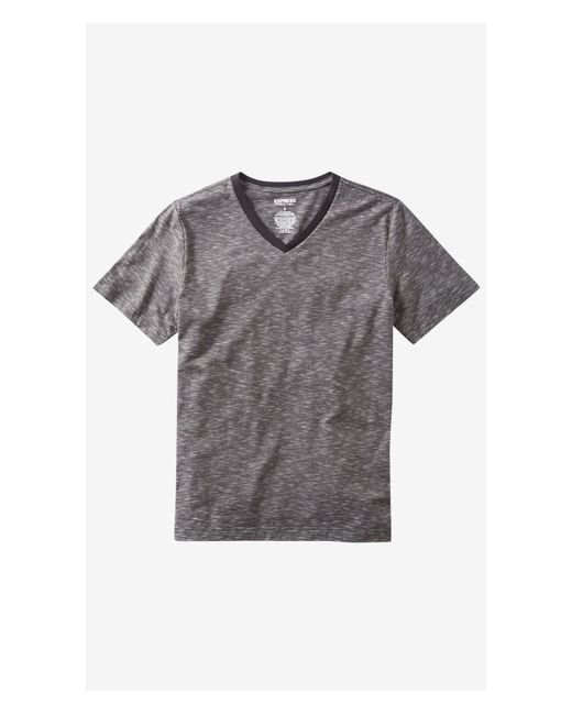Express | Gray Space Dyed Slub Knit Stretch V-neck Tee for Men | Lyst