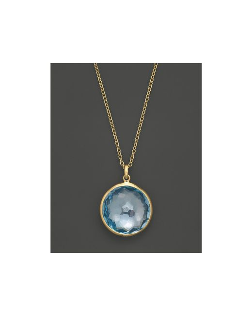 Ippolita | Metallic 18k Yellow Gold Lollipop Pendant Necklace In Blue Topaz, 16"