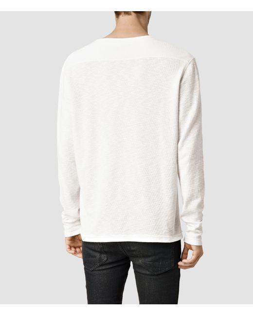 AllSaints | White Clash Long Sleeved Crew T-shirt for Men | Lyst