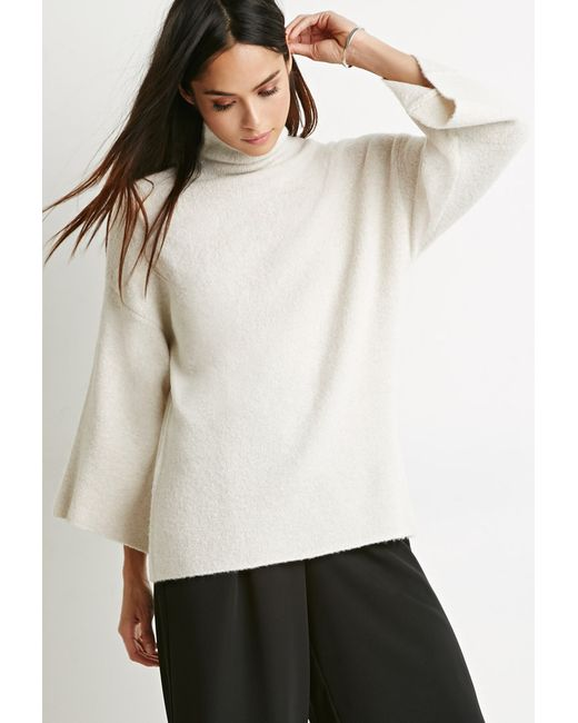 Forever 21 | Natural Contemporary Mock Neck Oversized Sweater | Lyst