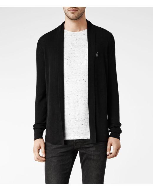 AllSaints | Black Mode Merino Open Cardigan for Men | Lyst