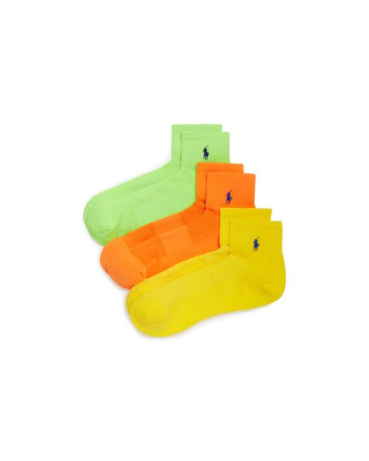 Polo Ralph Lauren | Yellow Quarter Sport Socks, Pack Of 3 for Men | Lyst