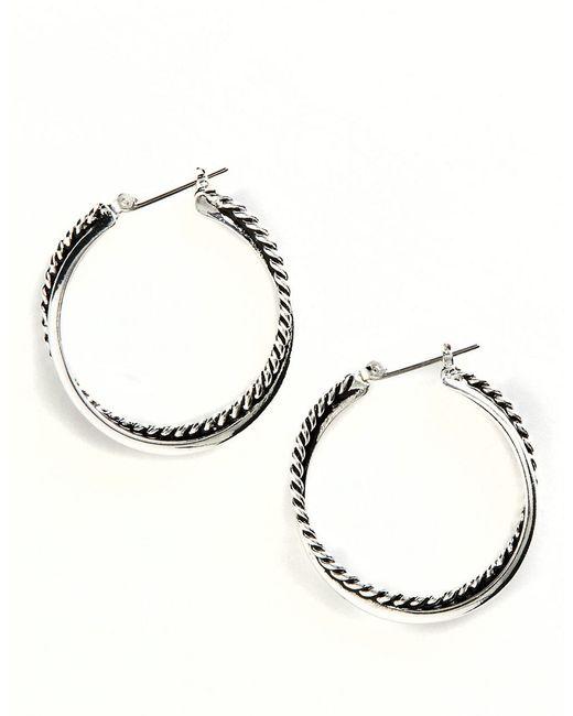 Lauren by Ralph Lauren   Metallic Twisted Link Hoop Earrings   Lyst