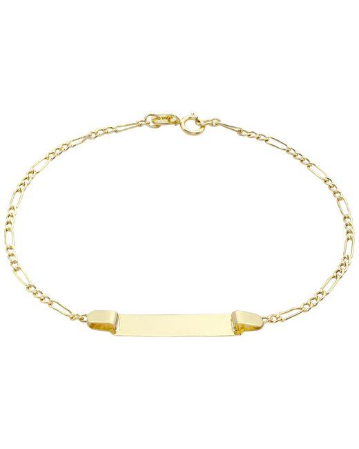 Ib&b | Metallic 9ct Gold Hollow Figaro Id Bracelet | Lyst
