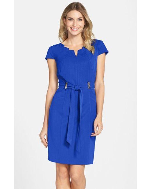Ellen Tracy | Blue Stretch Sheath Dress | Lyst
