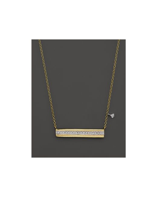 Meira T | Metallic 14k Yellow Gold Horizontal Bar Pendant Necklace With Diamonds, 16"
