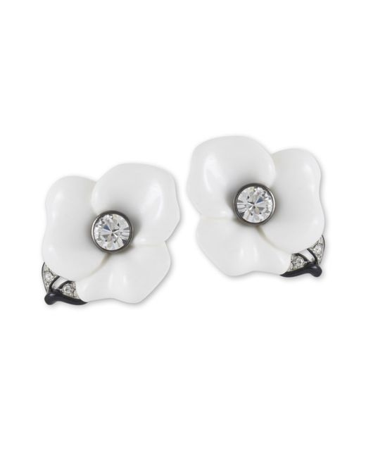 Kenneth Jay Lane | White Flower Clip Earring | Lyst