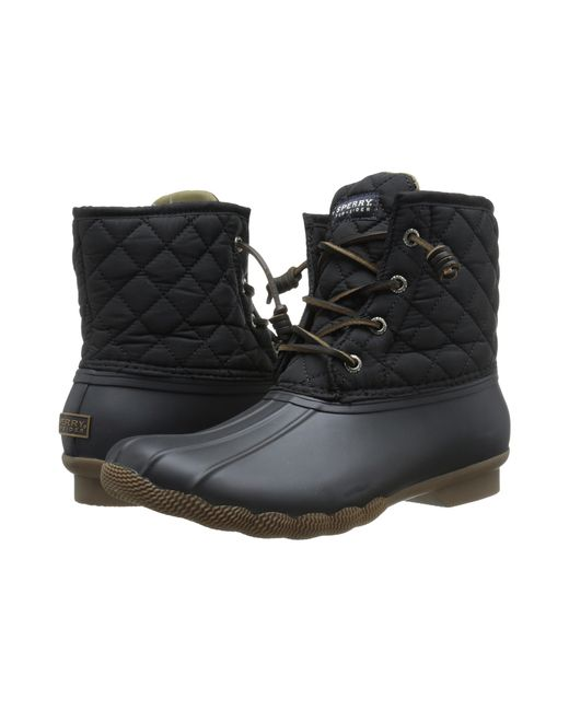 Sperry Top-Sider   Black Saltwater Quilted Water-Resistant Boots   Lyst