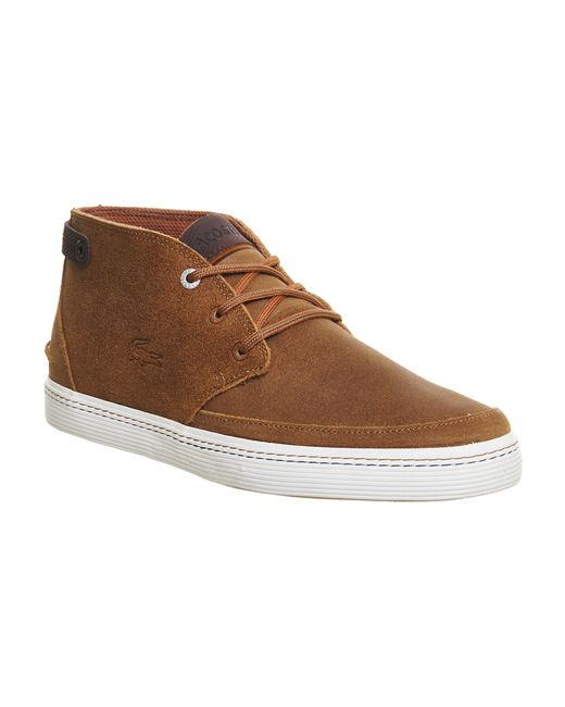 lacoste clavel chukka boots in brown for men lyst