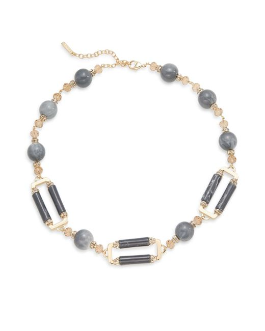 Saks fifth avenue Beaded Pavé Link Necklace in Gold (gold grey ...