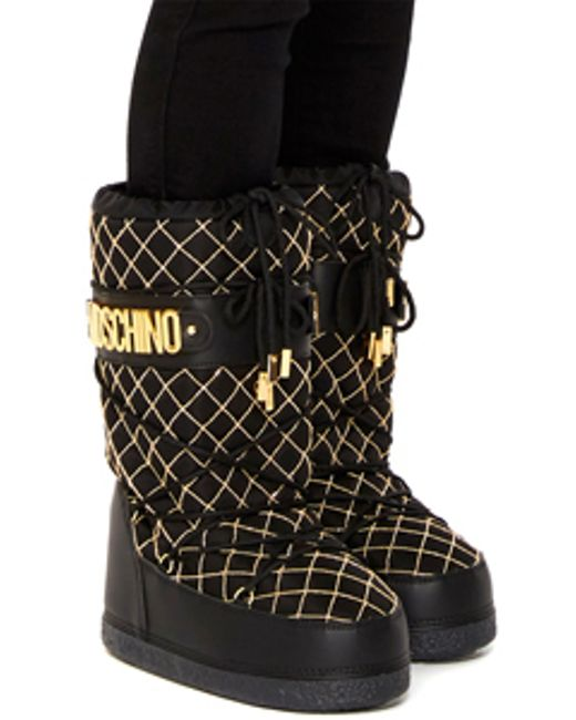 Moschino | Black Chain Quilted Logo Snow Boots | Lyst