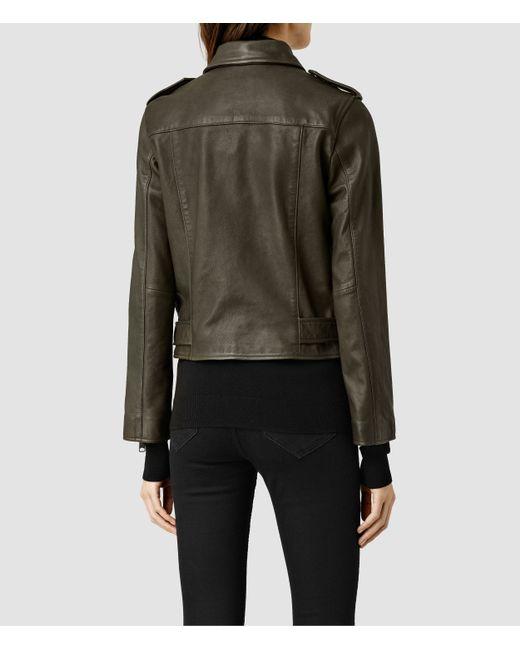 AllSaints | Green Balfern Leather Biker Jacket | Lyst