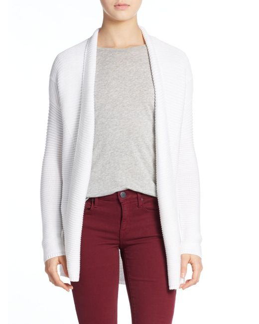 VINCE   White Ribbed Cotton Cardigan   Lyst
