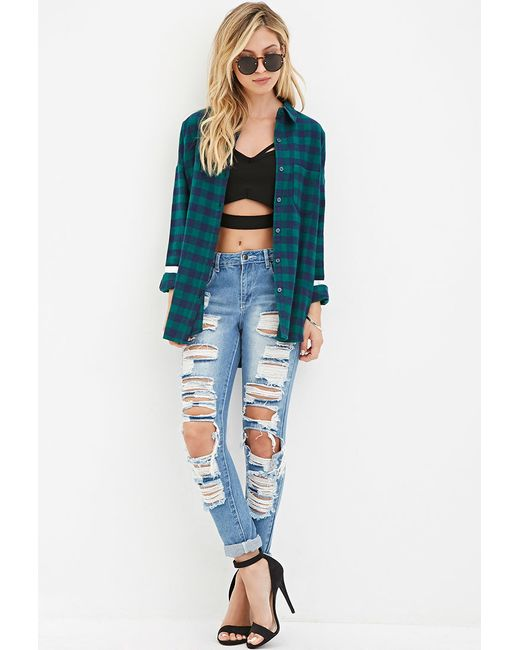 Forever 21 | Green Varsity-striped Plaid Shirt | Lyst