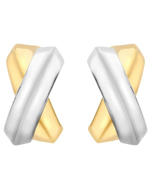Ib&b | Metallic 9ct Gold Two Colour Crossover Kiss Stud Earrings | Lyst