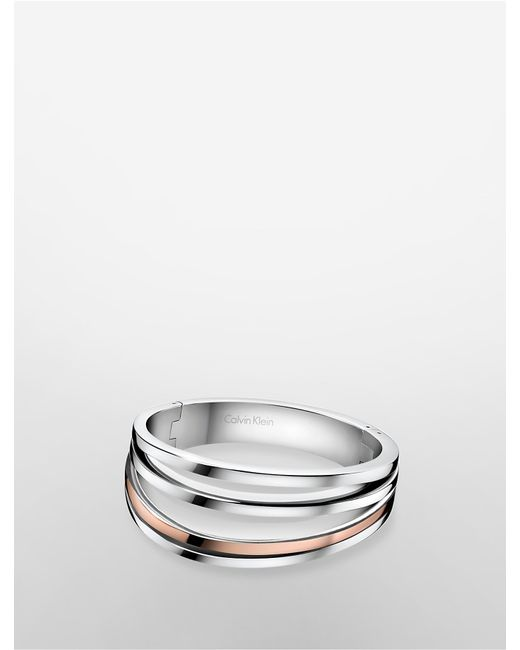 Calvin Klein | Metallic Platinum Breathe Two-tone Bracelet | Lyst