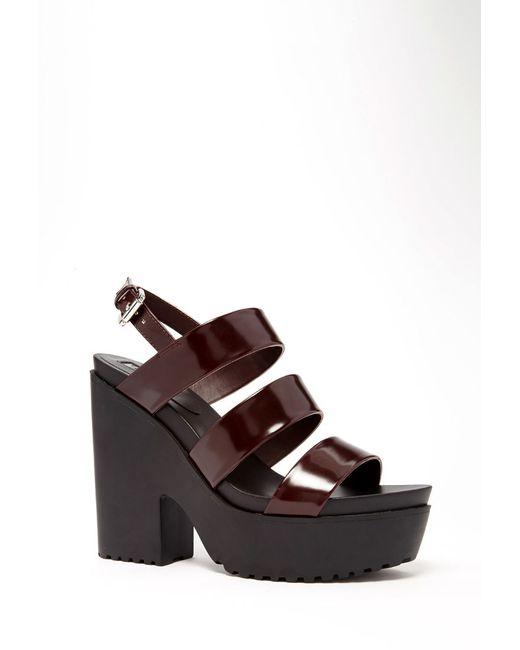 Forever 21 | Purple Faux Patent Leather Platform Sandals | Lyst