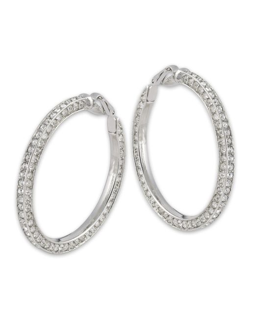 Kenneth Jay Lane | Metallic Crystal Hoop Clip Earring | Lyst