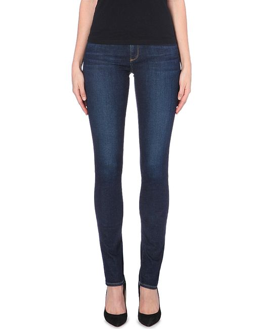 AG Jeans | Blue The Harper Skinny Straight Mid-rise Jeans | Lyst