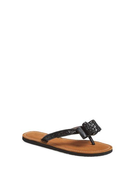 kate spade new york | Black 'icarda' Glitter Flip Flop | Lyst