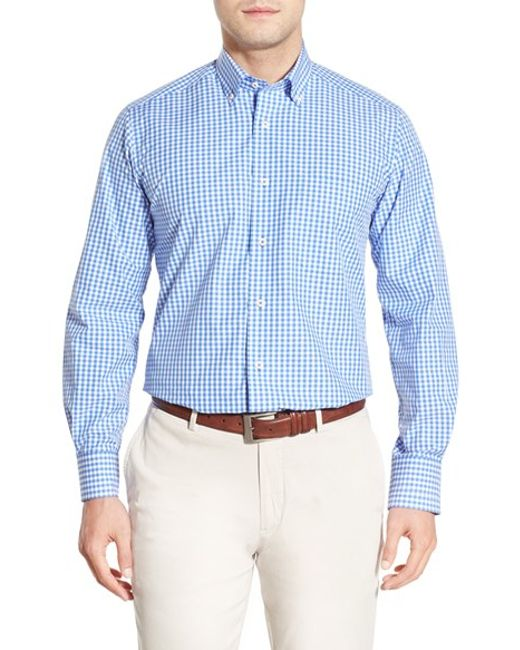 David donahue regular fit gingham sport shirt in blue for for David donahue french cuff shirts