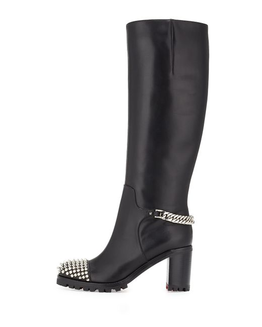 Christian Louboutin | Black Napaleona Spiked-toe Red Sole Knee Boot | Lyst